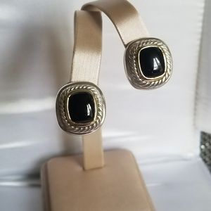 David Yurman Albion Black Onyx Earrings with Gold